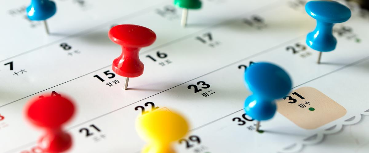 Thumbtacks pressed into a calendar